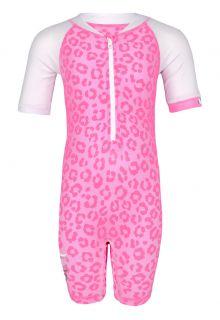 JUJA---UV-Schwimmanzug-für-Babys---Kurzärmlig---Leopard---Rosa