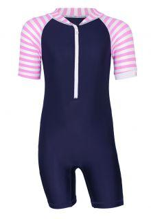 JUJA---UV-Schwimmanzug-für-Babys---Kurzärmlig---Stripes---Dunkelblau