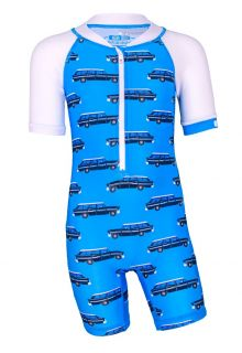 JUJA---UV-Schwimmanzug-für-Babys---Kurzärmlig---Oldtimer---Hellblau
