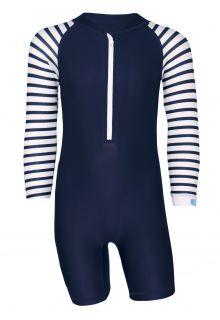 JUJA---UV-Schwimmanzug-für-Babys---Langärmlig---Stripes---Dunkelblau