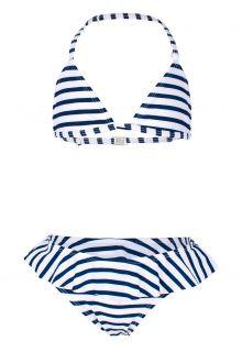 JUJA---Bikini-für-Mädchen---Stripy-Ruches---Weiß/Blau