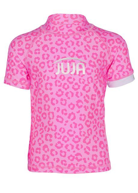 JUJA---UV-Badeshirt-für-Mädchen---Kurzärmlig---Leopard---Rosa
