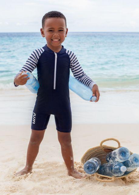 JUJA---UV-Schwimmanzug-für-Babys---Langärmlig---Stripy---Dunkelblau