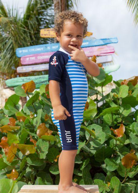 JUJA---UV-Schwimmanzug-für-Babys--Kurzärmlig---Captain---Blau