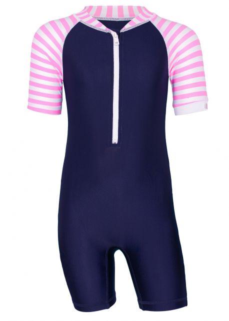 JUJA---UV-Schwimmanzug-für-Babys---Kurzärmlig---Stripy---Dunkelblau/Pink